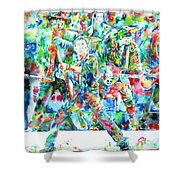 Bruce Springsteen And The E Street Band - Watercolor Portrait Shower Curtain by Fabrizio Cassetta