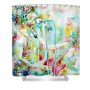 Bruce Springsteen Playing The Guitar Watercolor Portrait.1 Shower Curtain by Fabrizio Cassetta