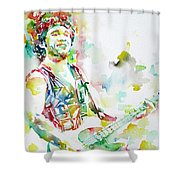 Bruce Springsteen Playing The Guitar Watercolor Portrait.2 Shower Curtain