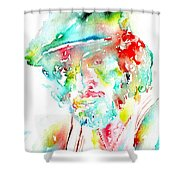 Bruce Springsteen Watercolor Portrait Shower Curtain by Fabrizio Cassetta