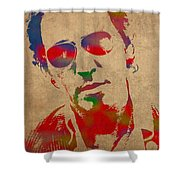 Bruce Springsteen Watercolor Portrait On Worn Distressed Canvas Shower Curtain
