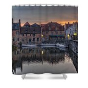 Bruges Canal Dawn Shower Curtain