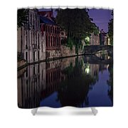 Bruges Canal Near Blind Donkey Alley  Shower Curtain