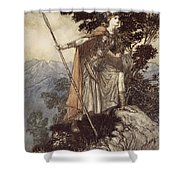 Brunnhilde From The Rhinegold And The Valkyrie Shower Curtain by Arthur Rackham