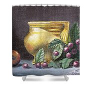 Brushed Gold Vase Shower Curtain