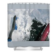 Brushing Winter Away Shower Curtain