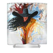 Brushstroke Cowgirl Shower Curtain