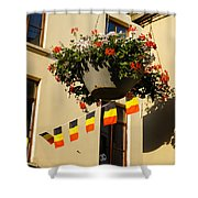 Brussels Belgium - Flowers Flags Football Shower Curtain