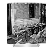 Brussels Cafe In Black And White Shower Curtain by Carol Groenen