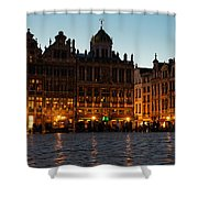 Brussels - Grand Place Facades Golden Glow Shower Curtain