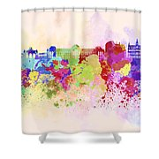 Brussels Skyline In Watercolor Background Shower Curtain