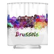 Brussels Skyline In Watercolor Shower Curtain