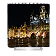 Brussels - The Magnificent Grand Place At Night Shower Curtain