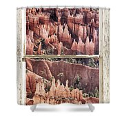 Bryce Canyon Utah View Through A White Rustic Window Frame Shower Curtain