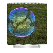 Bubble On Grass With St.johns Bridge Shower Curtain