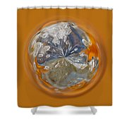 Bubble Out Of Orange Orb Shower Curtain