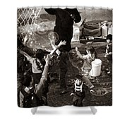 Bubbles And Kids - Central Park Sunday Shower Curtain