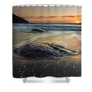 Bubbles On The Sand Shower Curtain by Mike  Dawson