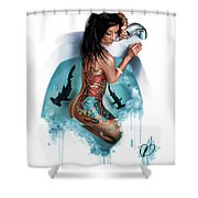Bubbles Shower Curtain by Pete Tapang