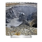 Bubbling Mud Pool At Hverir In Iceland Shower Curtain