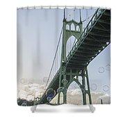 Bubbly St.johns Bridge Shower Curtain