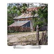 Buck Ranch Barn Shower Curtain