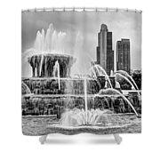 Buckingham Fountain - 1 Bw Shower Curtain
