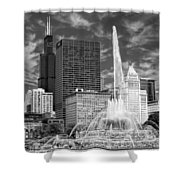 Buckingham Fountain Sears Tower Black And White Shower Curtain
