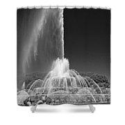 Buckingham Fountain Spray Black And White Shower Curtain