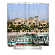 Buda Castle And Boats On Danube River Shower Curtain