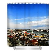 Budapest And Blue Danube Shower Curtain
