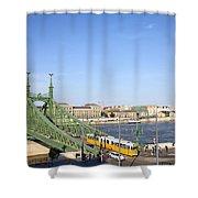 Budapest Cityscape And Liberty Bridge Shower Curtain