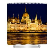 Budapest Parliament At Night Shower Curtain