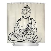 Buddha In Black And White Shower Curtain by Pamela Allegretto