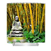 Buddha In The Bamboo Forest Shower Curtain