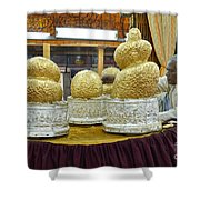 Buddha Figures With Thick Layer Of Gold Leaf In Phaung Daw U Pagoda Myanmar Shower Curtain