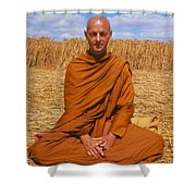 Buddhist Monk Meditating Shower Curtain by David Parker and SPL