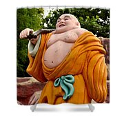 Buddhist Monk On Journey Haw Par Villas Singapore Shower Curtain