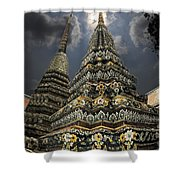Buddhist Temple In Bangkok Thailand Buddhism Wat Po Shower Curtain