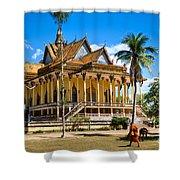 Buddhist Temple In Kratje - Cambodia Shower Curtain