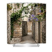 Budva Old Town Cobbled Street In Montenegro Shower Curtain