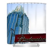 Budweiser And Building  Shower Curtain
