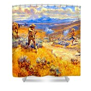 Buffalo Bills Duel With Yellowhand Shower Curtain