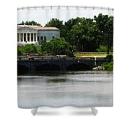 Buffalo History Museum And Delaware Park Hoyt Lake Oil Painting Effect. Shower Curtain