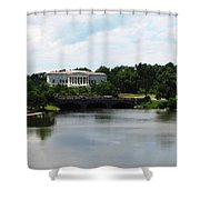 Buffalo History Museum And Delaware Park Hoyt Lake Oil Painting Effect Shower Curtain