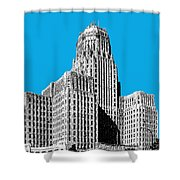 Buffalo New York Skyline 1 - Ice Blue Shower Curtain