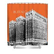 Buffalo New York Skyline 2 - Coral Shower Curtain