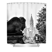 Buffalo Statue On The Parkway Shower Curtain