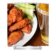 Buffalo Wings With Celery Sticks And Beer Shower Curtain