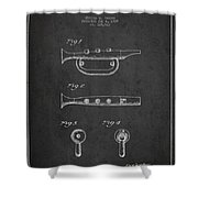 Bugle Call Instrument Patent Drawing From 1939 - Dark Shower Curtain